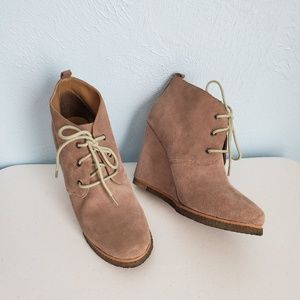 Shoemint suede lace-up wedge booties